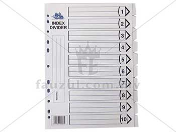 Battleship White Index Divider 10 Tab