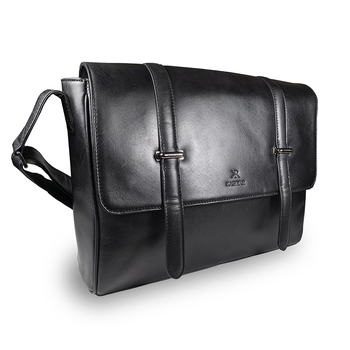 Leather Messenger Exec. Bag Black Kr-003