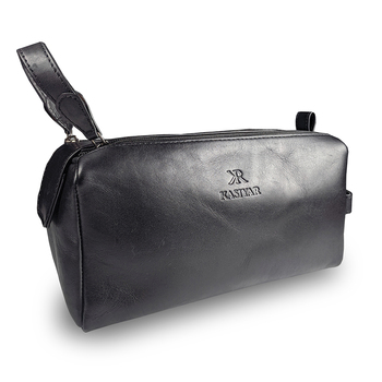 Leather Wash Bag With Magnet Black Kr014